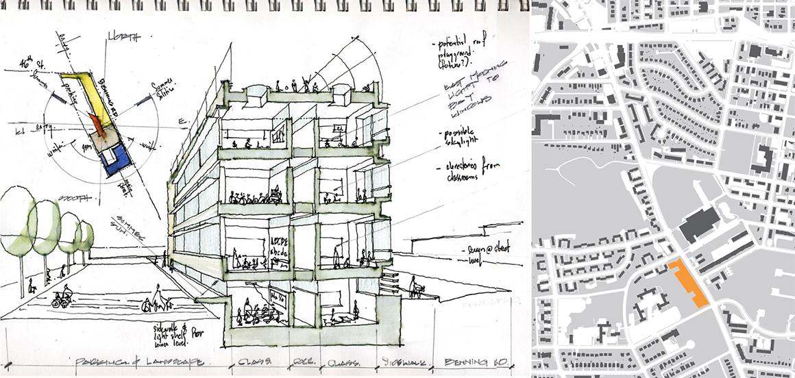 KIPP DC Benning Campus Studio Twenty Seven Architecture -Sketch