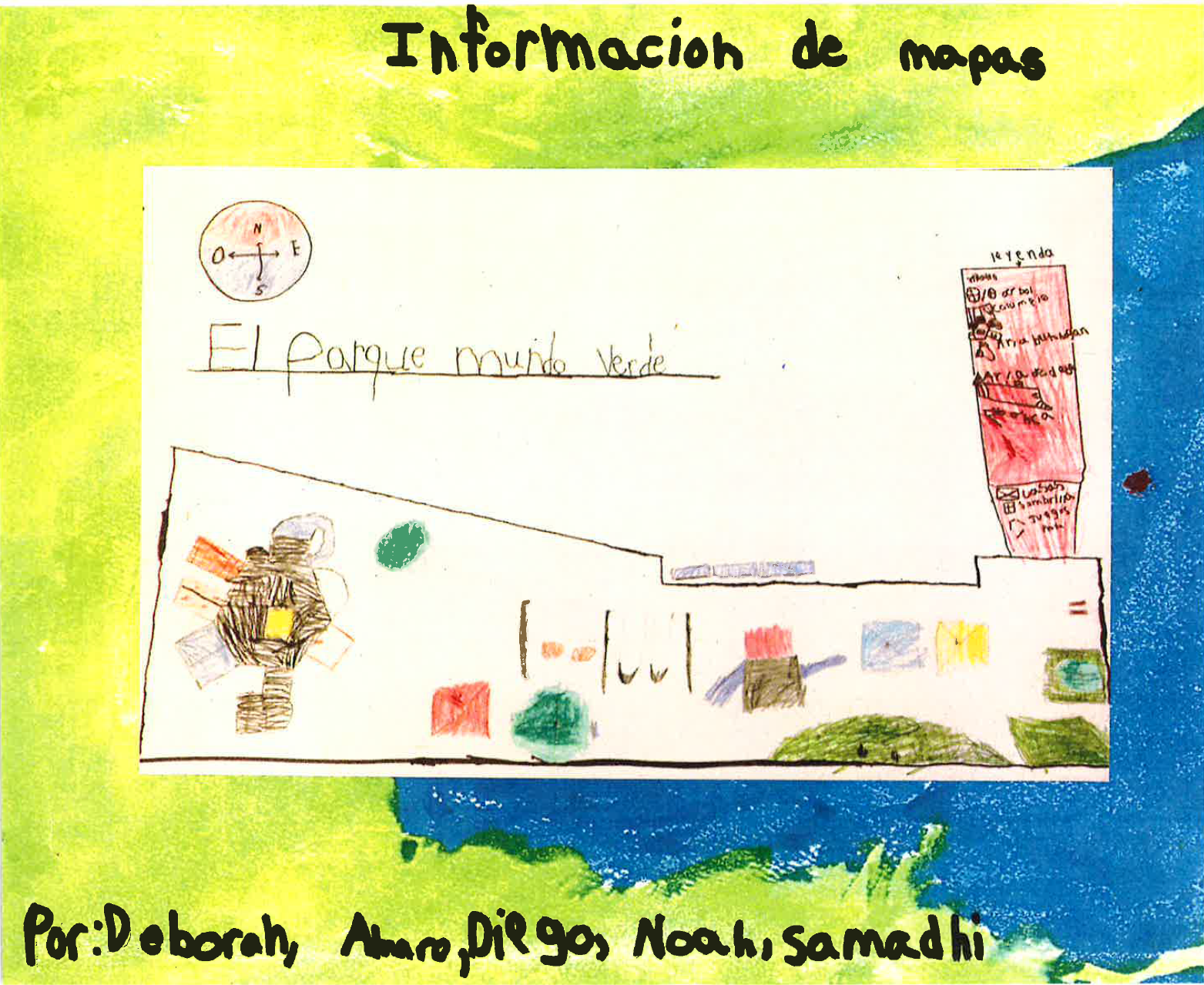 A map of the new Mundo Verde campus by first graders as part of the Maps & Treasures: Connecting People and Places curriculum.